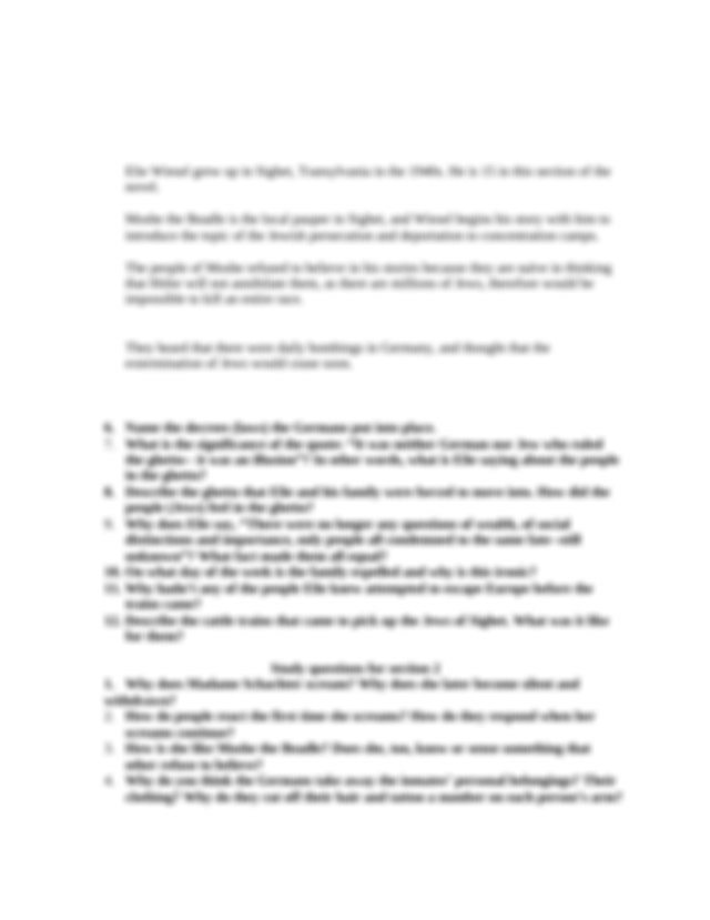 Night Study Questions Honors - Night Study Questions for ...