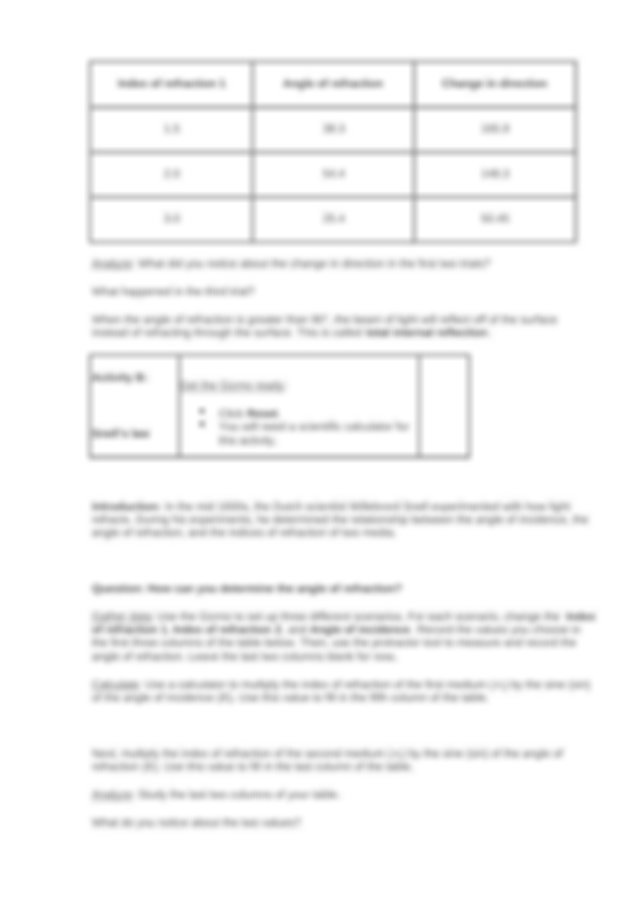 Student Exploration- Refraction (ANSWER KEY).docx ...