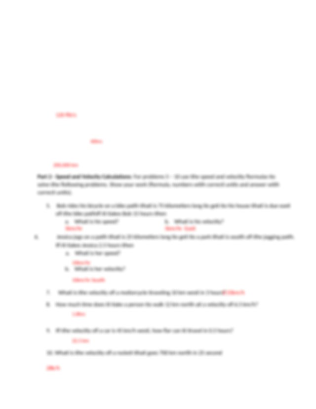 Speed and Velocity Worksheet Answer Key 1   Speed ...