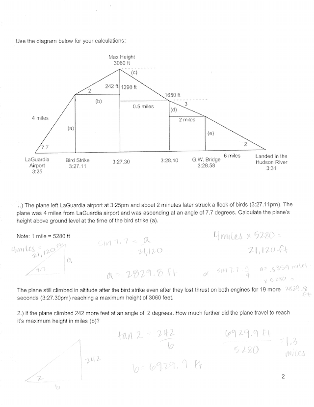 Trig Ratio- Flight 1549 Answer Key.pdf - Hour Score 3O ...