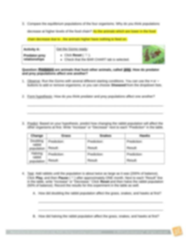 FoodChainSE - Name Date Student Exploration Food Chain ...