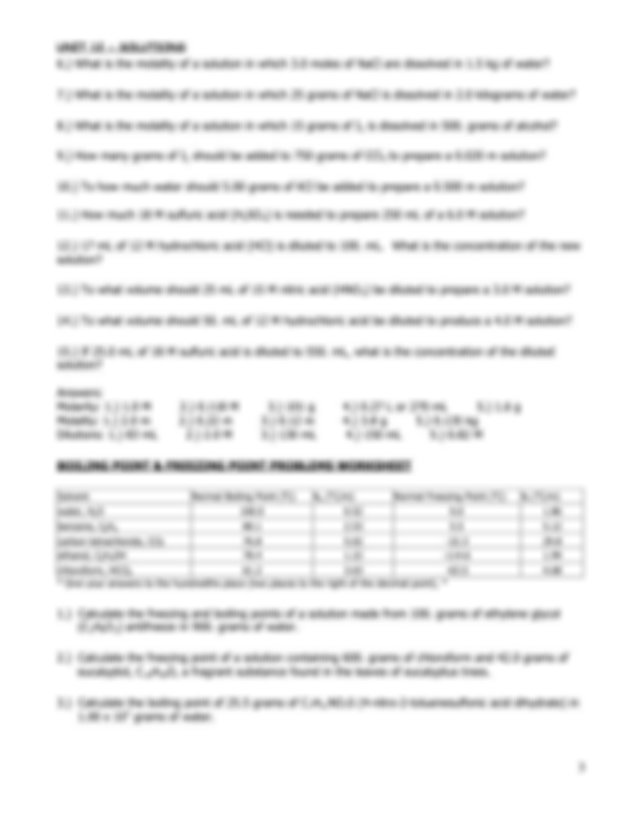 Solubility Worksheet 2 - UNIT 12 SOLUTIONS SOLUBILITY ...
