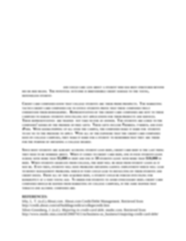 Thesis Statement on CREDIT CARDS   Category: English