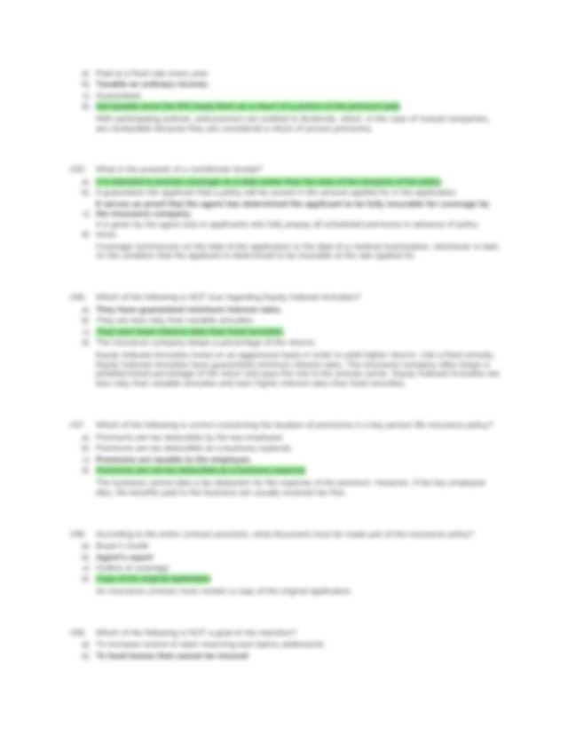 Life Ins Study Guide.docx - #12 a b c d During replacement ...