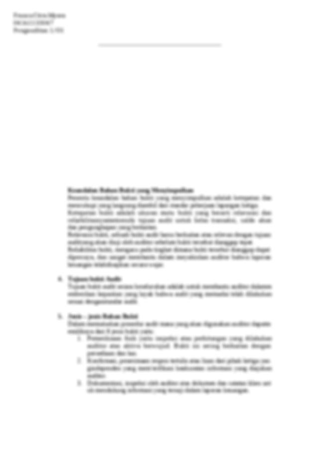 Resume Chapter 7 Audit Evidence Docx Franca Citra Mysea 04161133047 Pengauditan 1 O1 Resume Chapter 7 Audit Evidence 1 Hakikat Bukti Audit Bukti Audit Course Hero