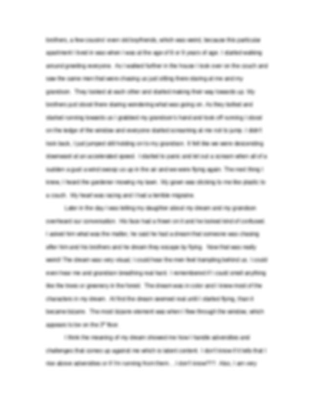 Free Essays on My Strange Dream through
