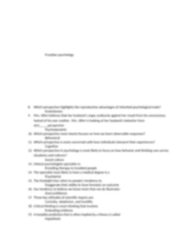 test 1 study guide - Dillon Howell 1 Research participants ...