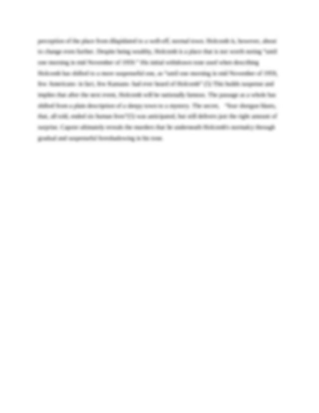 In cold blood analysis essay