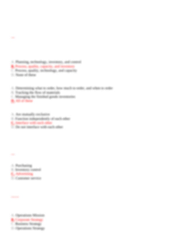 Easy - Chapter 1 The Operations Function 2 Which of the ...