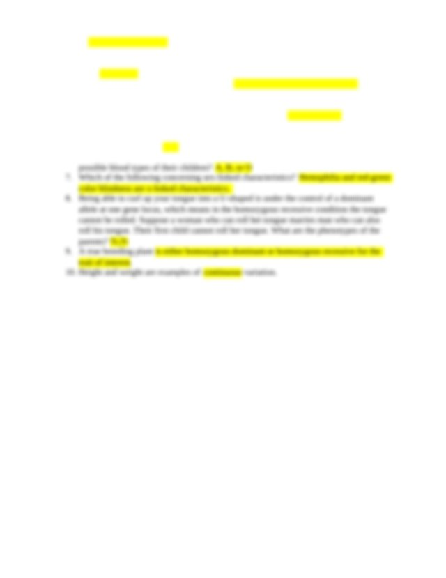 BI-101Quiz6 - Week 6 Quiz 1 In incomplete dominance the ...