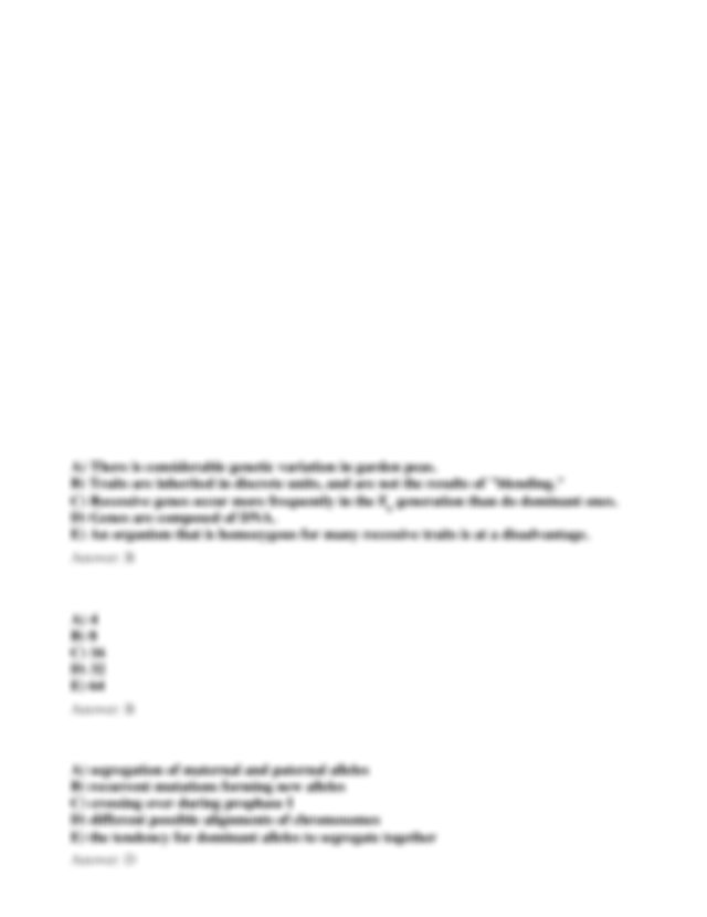 ch14practicequestions - Campbell Biology Chapter 14 Test ...