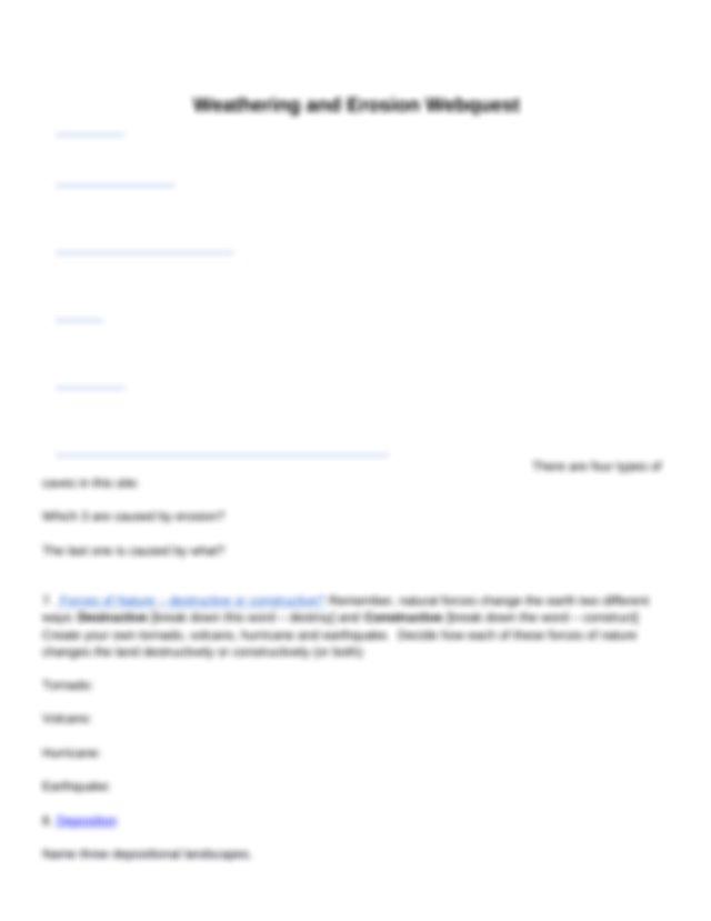 WeatheringandErosionWebquest.docx - Name Weathering and ...