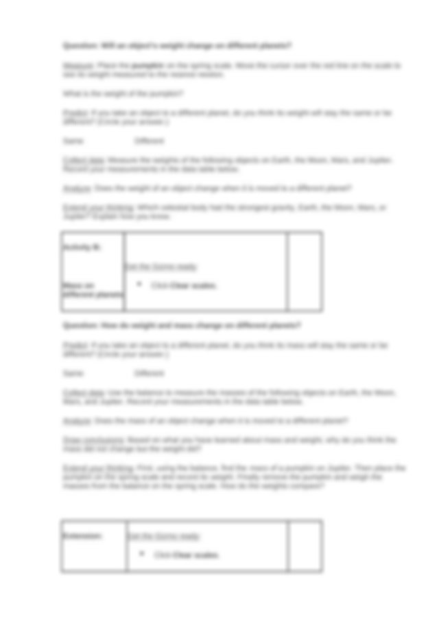 Student Exploration- Weight and Mass (ANSWER KEY).docx ...