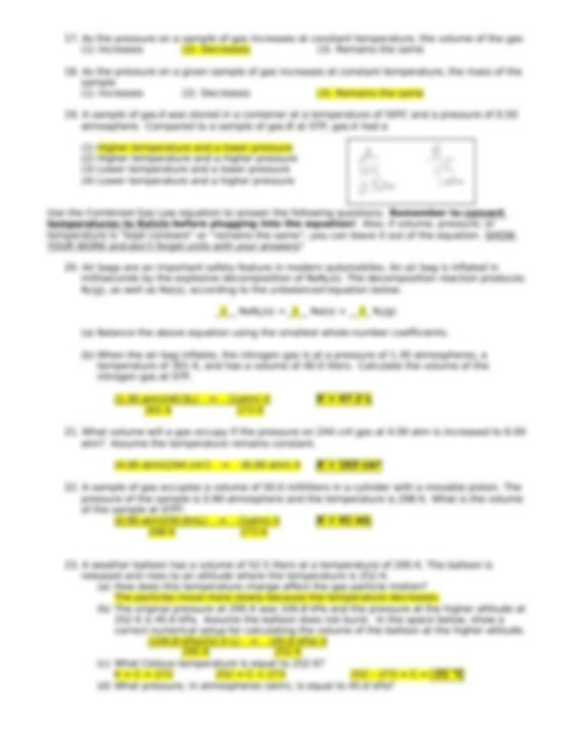 KEY---Practice-gas-laws - Unit 7 Question Packet Gases ...