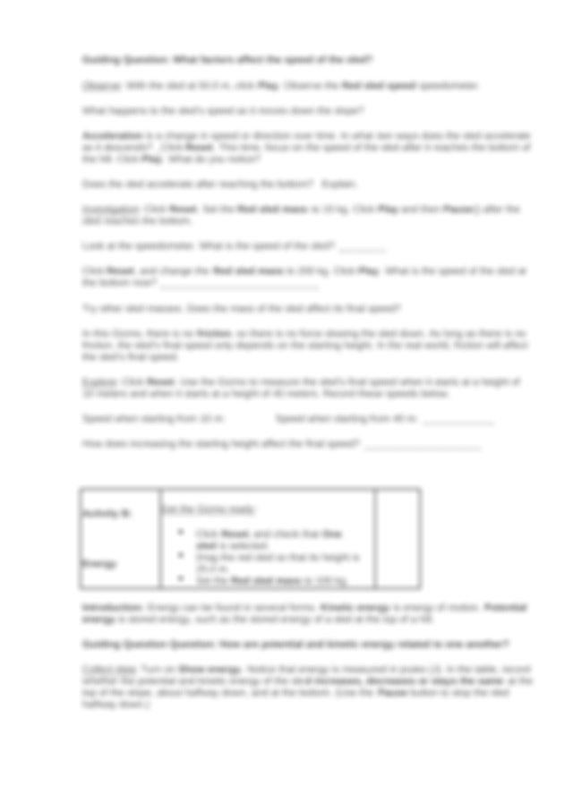 Student Exploration- Sled Wars (ANSWER KEY).docx - Student ...