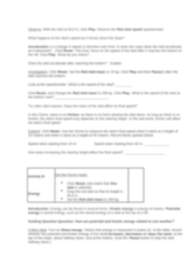 Student Exploration- Sled Wars (ANSWER KEY).docx - Student ...