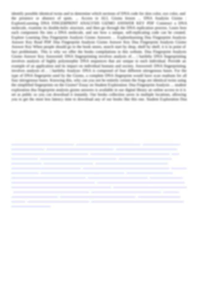 Fingerprint Analysis Gizmo Answers The nitrogenous bases ...