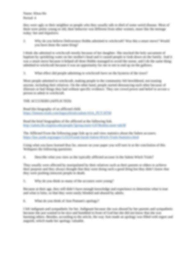 Salem Witch Trials Webquest answer - Name Khoa Ho Period 4 ...