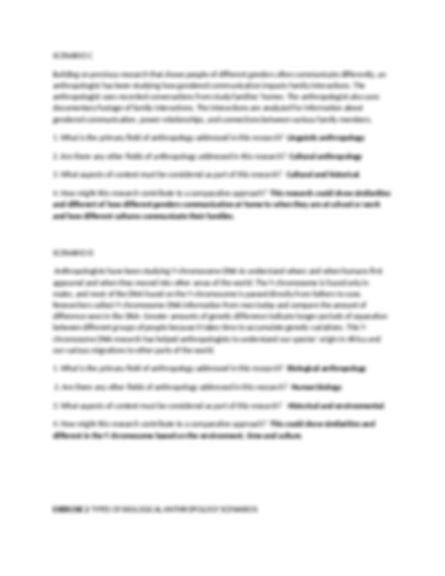 Lab 1 & 2.docx - Scenario A Anthropologists have studied ...
