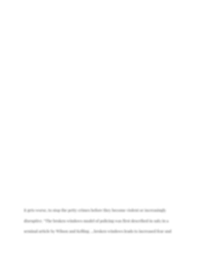 Broken windows theory essay