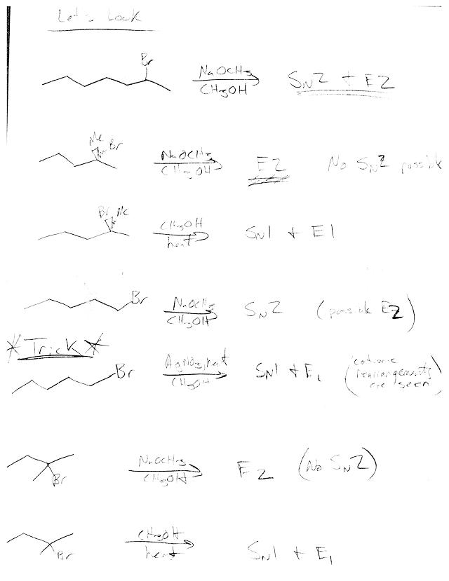 Sn1 E1 Sn2 E2 Summary Notes