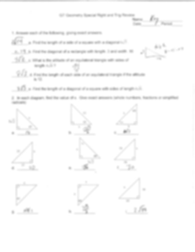 Unit_8_Review_Key - GT Geometry Special Right and Trig ...