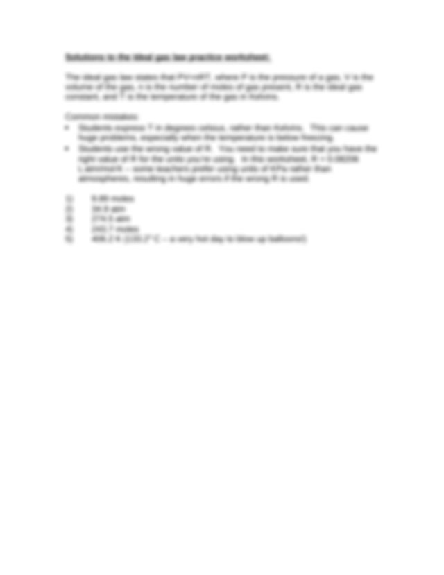 Ideal Gas Law Practice Worksheet - Ideal Gas Law Practice ...
