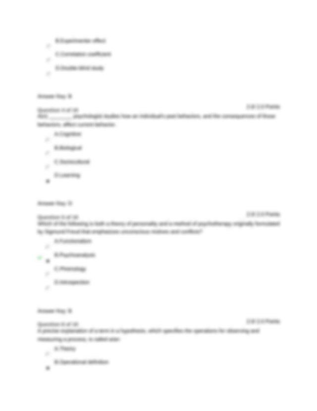 PSYC 101 WEEK 1 QUIZ (ANSWER KEY) - PSYC 101 WEEK 1 QUIZ ...