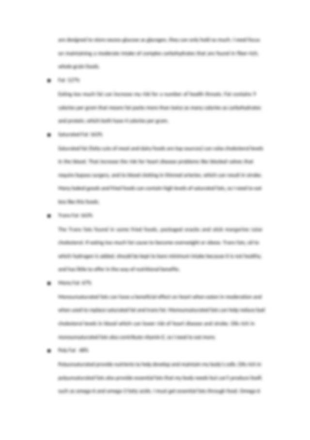 my diet analysis report (2) - My diet analysis Calories ...