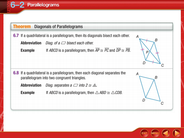 Geom 6.2 - LESSON 62 Parallelograms Over Lesson 61 Find
