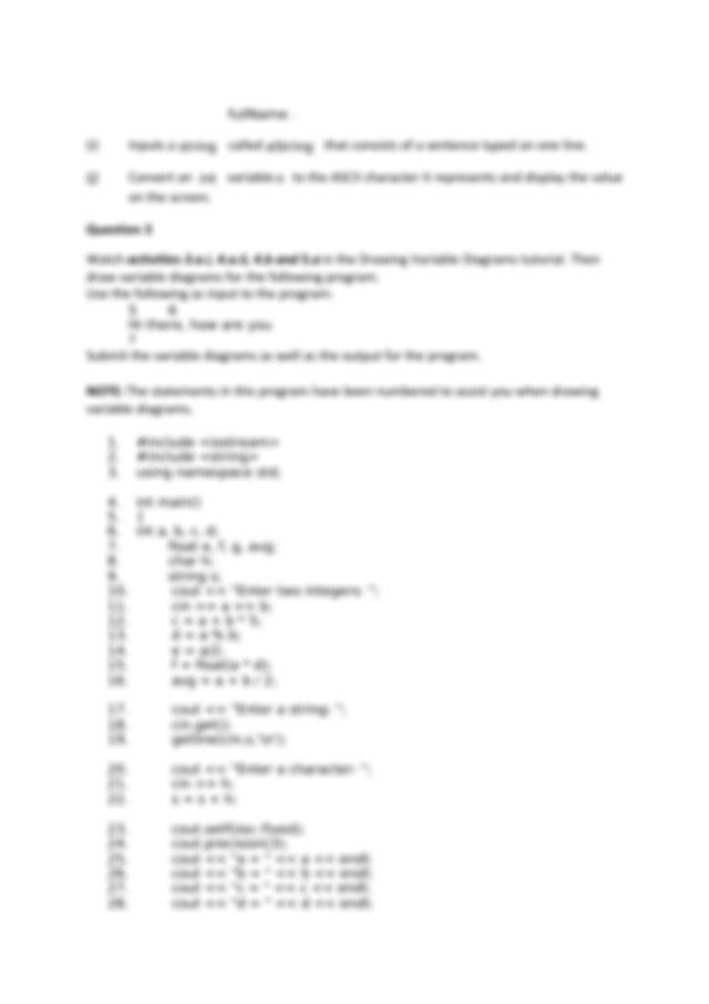 COS1511+Tutorial+1 - COS1511 Tutorial 1 Question 1 Given ...
