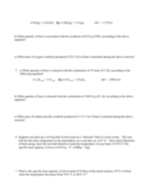 thermochemistry review - Name Thermochemistry Review ...