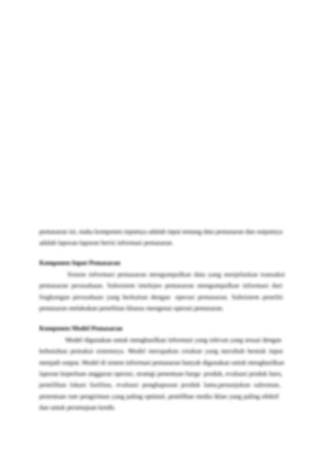Makalah Sistem Informasi Pemasaran Docx Daftar Isi Bab I 2 Pendahuluan 2 Bab Ii 4 Pembahasan 4 A Sistem Informasi Pemasaran 4 Strategi Pemasaran 5 Course Hero