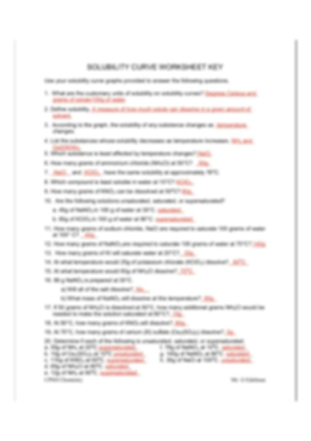Solubility Worksheet Answers - SOLUBILITY CURVE WORKSHEET ...