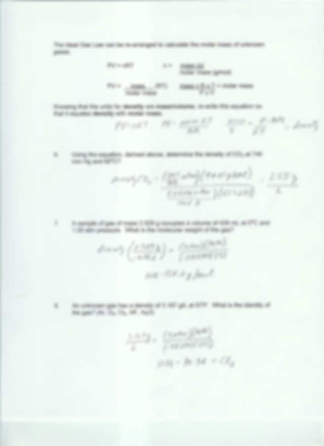 Worksheet 11 answers - Worksheet 11 ideal Gas Law I Ideal ...