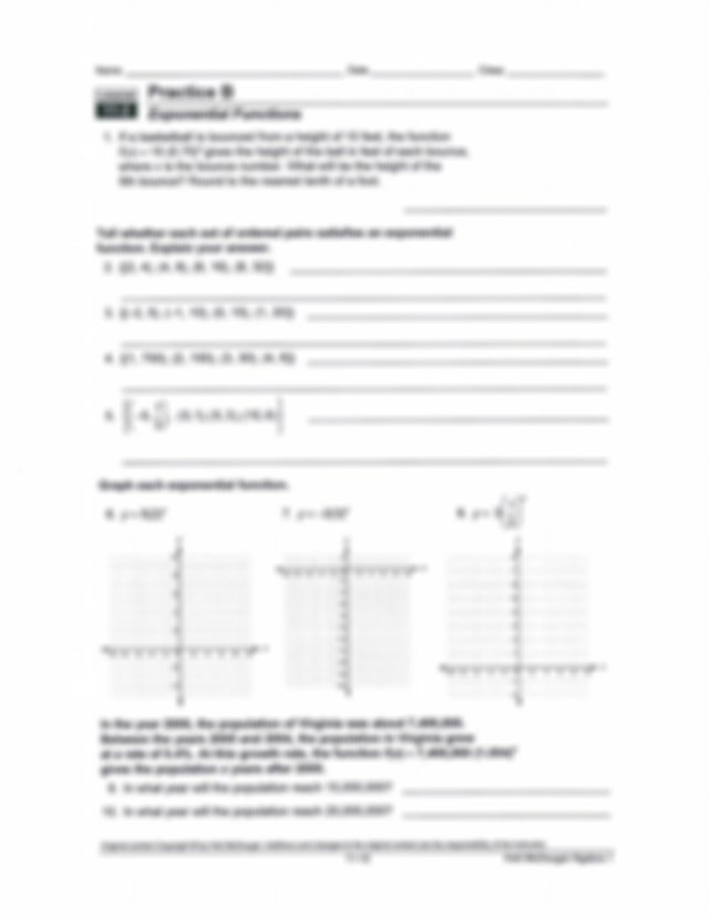 geometric sequences worksheet homework - Name Date Class ...
