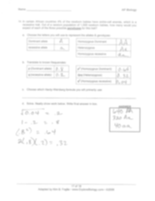 answer_key_for_hardy-weinberg_problems_from_back_of_lab ...