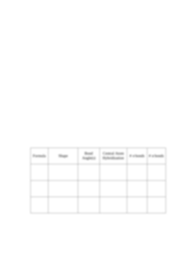 LewisStructures_WS - Complete the following table Formula ...