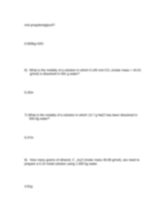 Molality Wksht B answer key - Molality Worksheet Complete ...