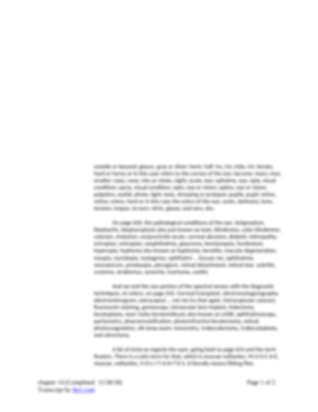 chapter 14.docx - 00:01 Chapter 14 The Special Senses on ...
