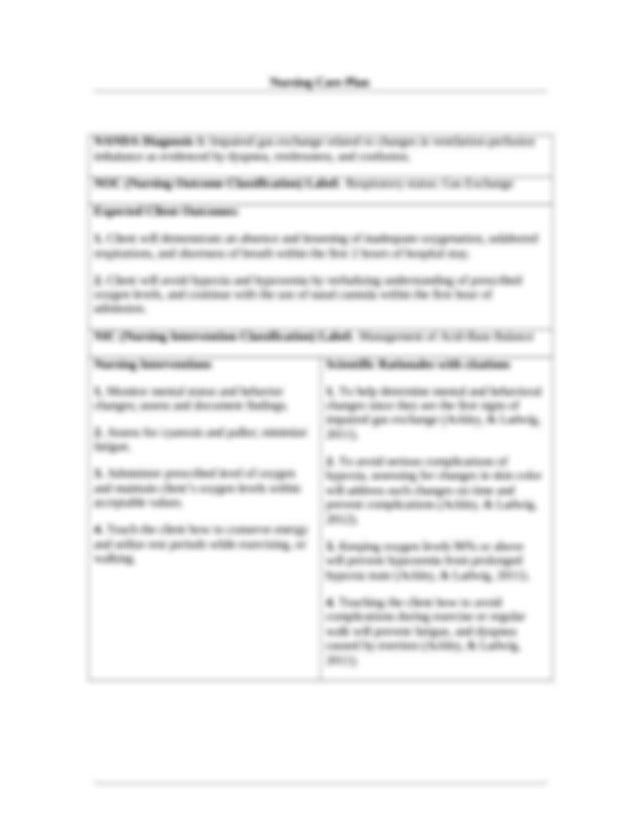 Care_Plans - Nursing Care Plan NANDA Diagnosis 1 ...