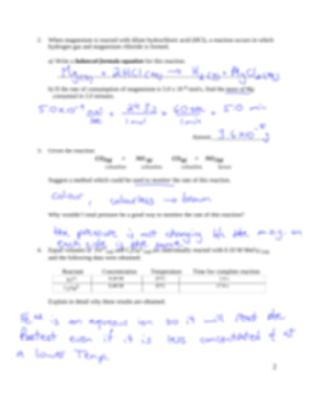 4. Worksheet 1_1 new Key - Chemistry 12 Unit 1.1 1.4 ...