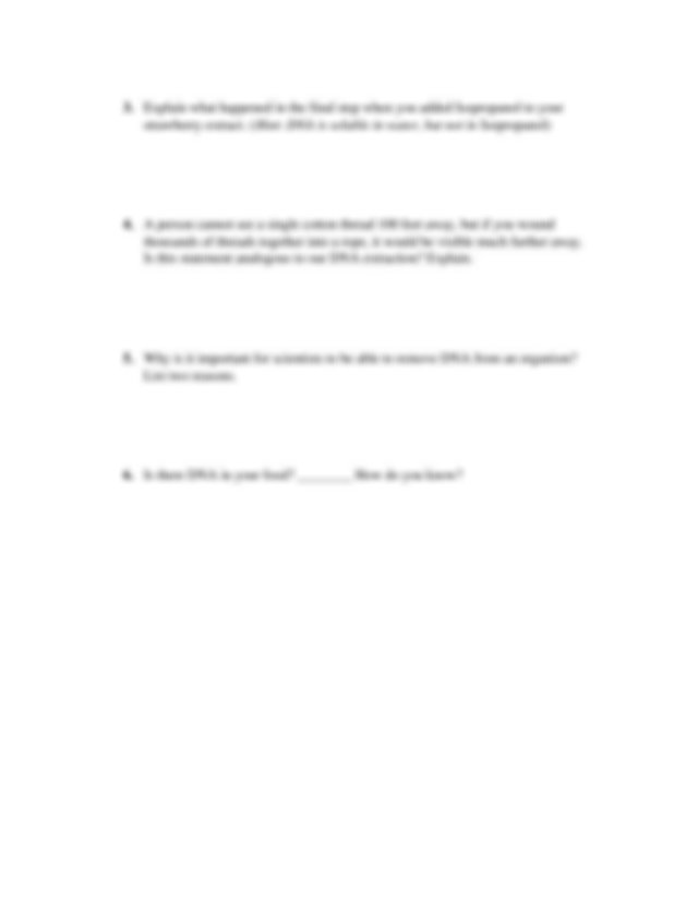 DNA extraction Lab Report - Name Date Strawberry DNA ...