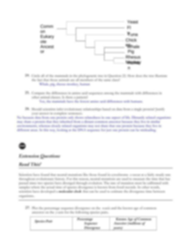 Fill in the phylogenetic tree below with Samples 1 through ...