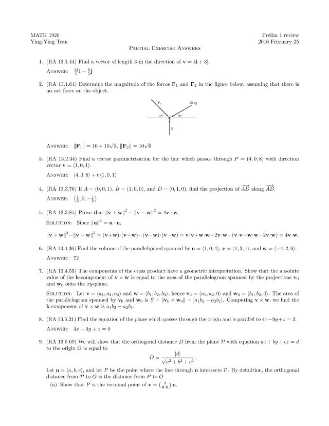 2-25 Prelim 1 review questions - MATH 1920 Prelim 1 review ...