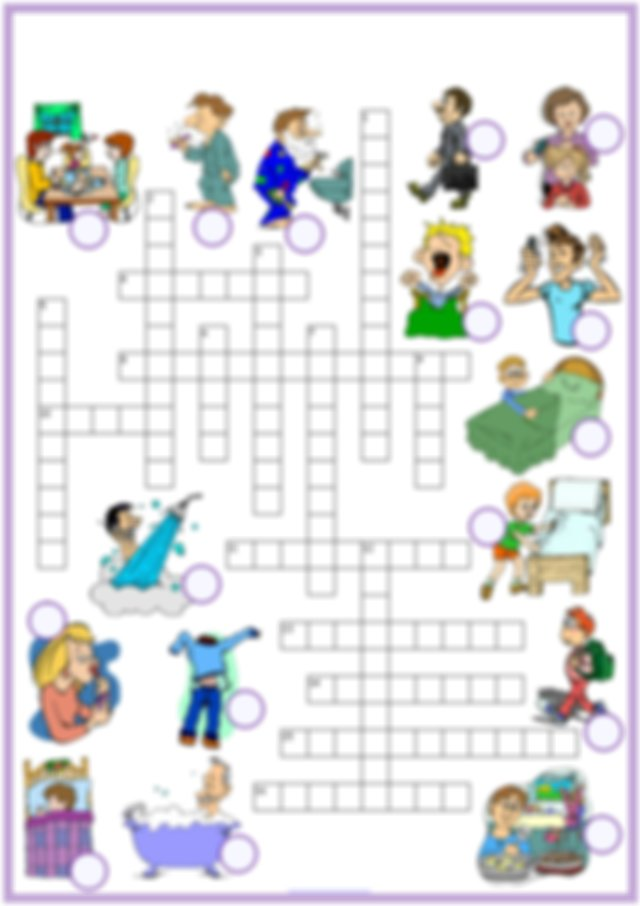 daily routines vocabulary esl crossword puzzle worksheets ...