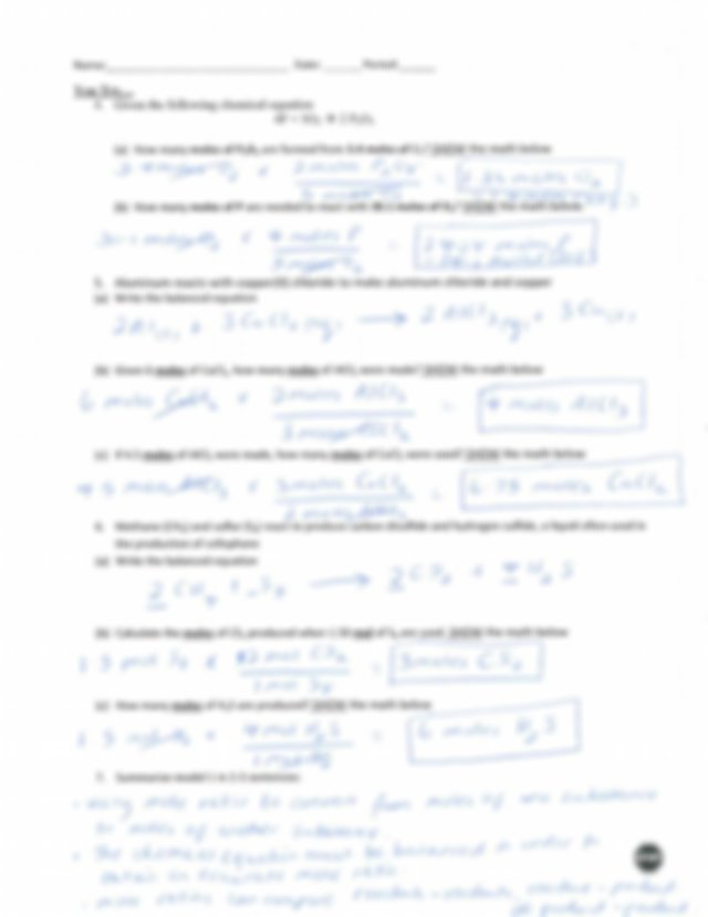 Stoichiometry_POGIL_Chemistry_answers.pdf - | Course Hero