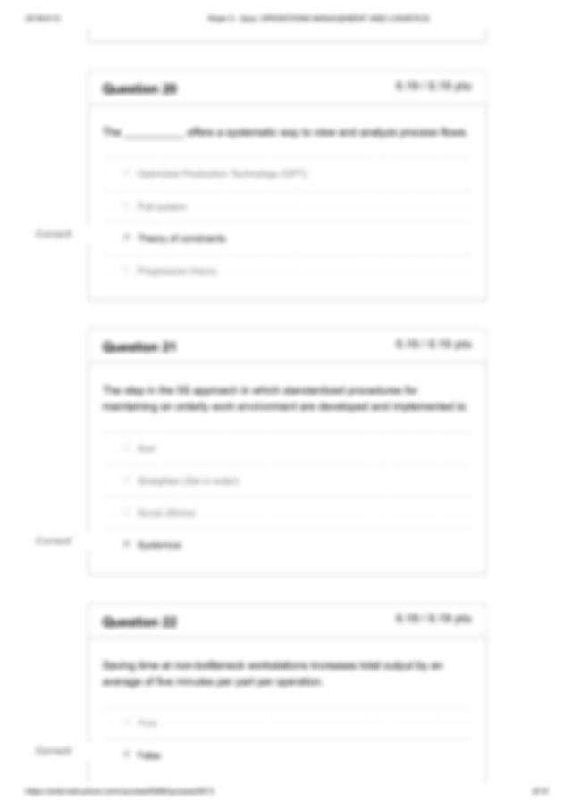 Q5.pdf - Week 5 Quiz OPERATIONS MANAGEMENT AND LOGISTICS ...