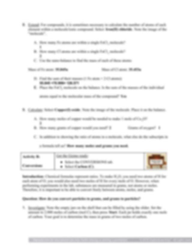 Chemsistry Student Exploration_ Moles Gizmo.pdf - Student ...