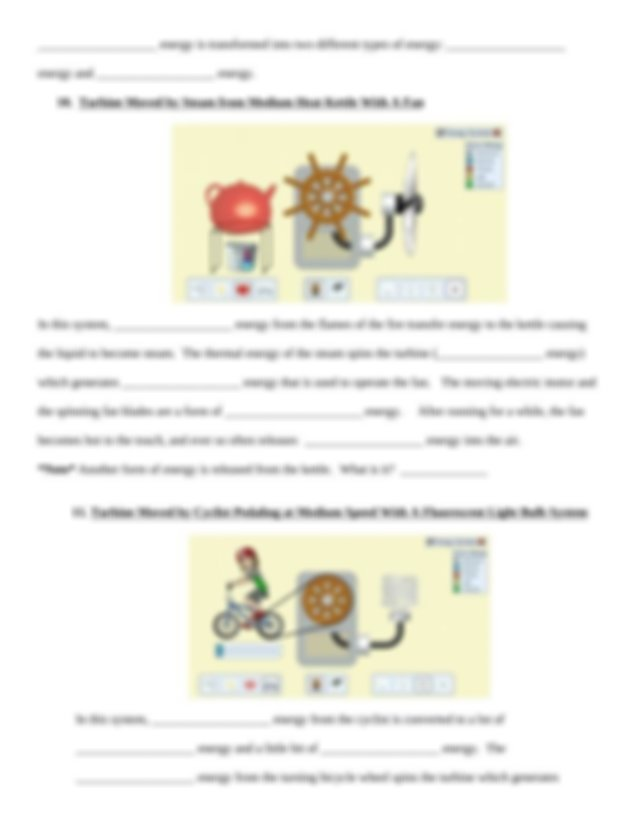 The sun 3 Which energy output objects work with the ...